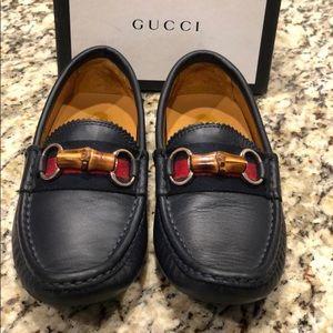 Navy Gucci Mocassins